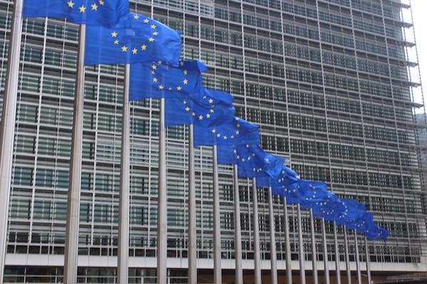 Drapeaux devant la Commission Européenne