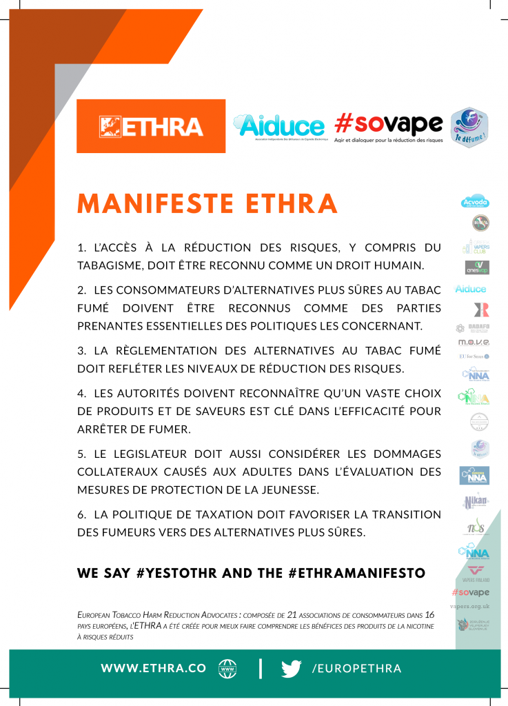 Manifeste ETHRA France Aiduce & Sovape & Je Défume