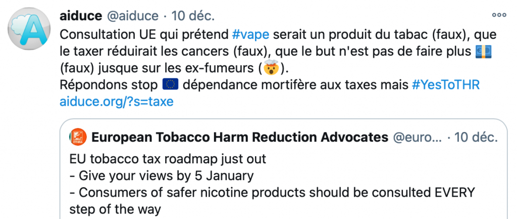 Consultation UE taxes, twitter Aiduce